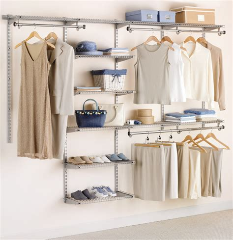 Custom Closet Organization Systems rubbermaid configurations custom closet organizer deluxe 4 to 8 foot titanium