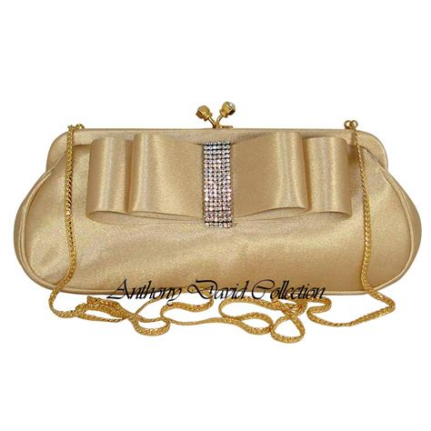 Silk Bow Evening Bag By Anusha by Gold Satin Bow Clutch Purse Evening Bag With Swarovski