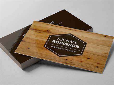 wood pattern business cards construction manager modern wood grain look business