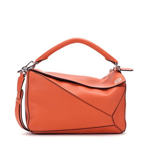 Small Leather by Loewe Puzzle Small Leather Bag In Orange Lyst