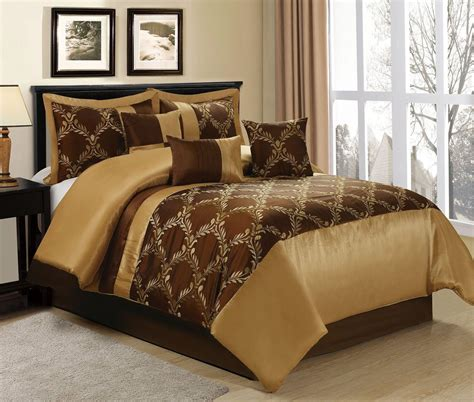 homechoice 7 piece claremont brown gold comforter sets
