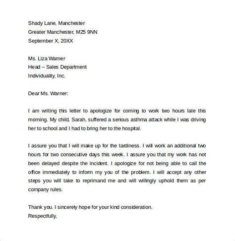 Apology Letter To For Being Late Sle Apology Letter For Being Late 8 Free Documents To