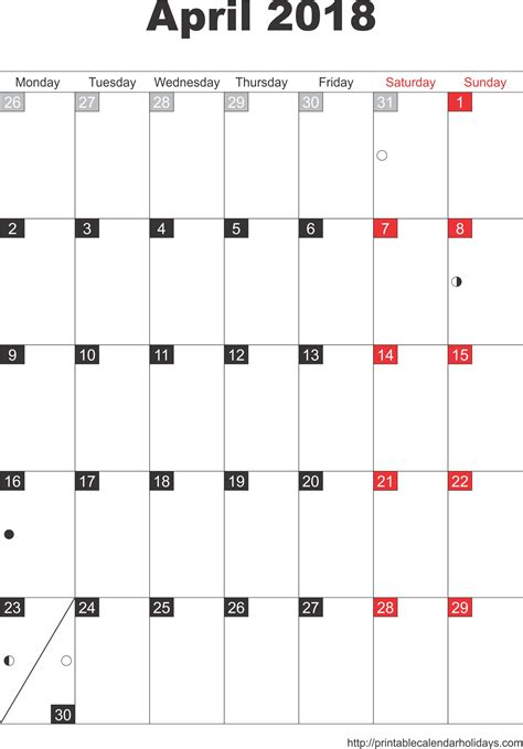 free 2018 calendar template with holidays april 2018 calendar with holidays printable 2017 calendars