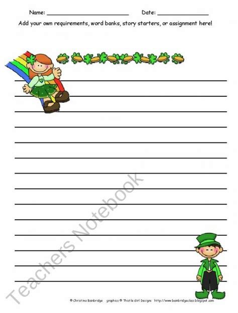 st day writing paper free st patricks day writing paper st patricks day