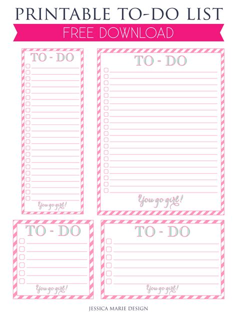 printable to do list jessica marie design blog free printable you go girl to