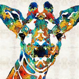 colorful giraffe painting colorful giraffe animal print from painting primary colors
