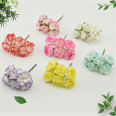 Paper Flowers For Scrapbooking - 6pcs cheap paper artificial flowers scrapbooking for