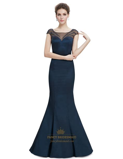 beaded top bridesmaid dresses navy blue sheer back prom dresses with beaded top fancy