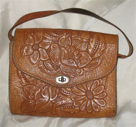 Secret Flower Totebag Looks Like Original vintage tooled leather handbag purse floral 1960 s handbags purses