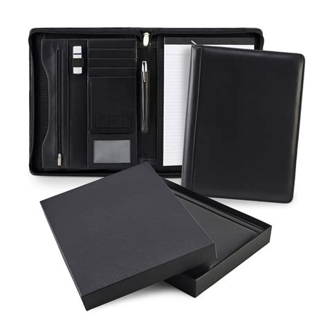 pad holder black sandringham leather zipped a4 conference pad holder