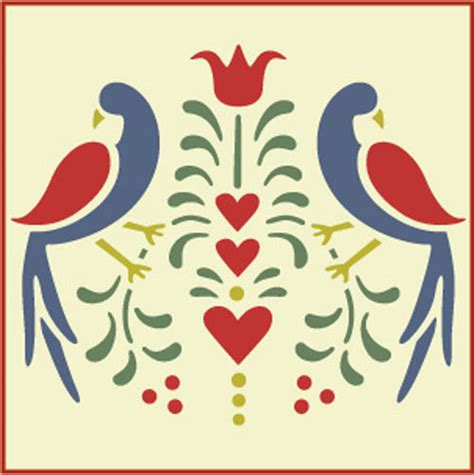 scandinavian pattern history folk art birds 1 stencil distlefink fraktur the artful