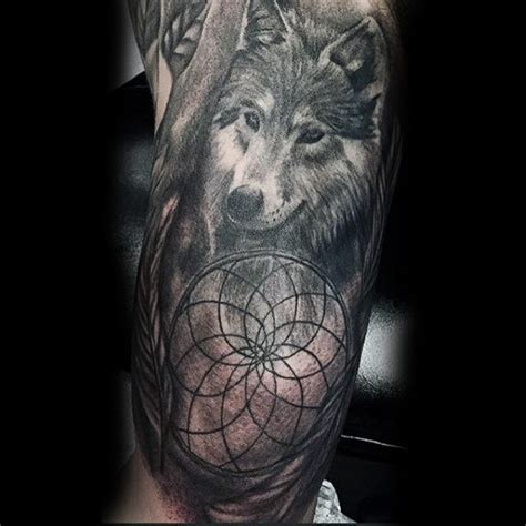wolf and dreamcatcher tattoo 100 dreamcatcher tattoos for design ideas