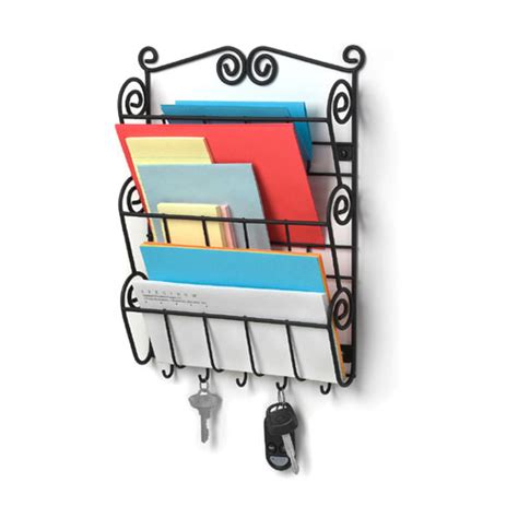 Wall Mounted Mail Organizer And Key Rack by Wall Mount Mail Holder And Key Rack Black Organization