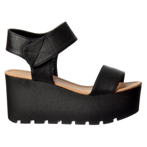 black platform wedge sandal shoekandi chunky cleated sole platform summer wedge sandal