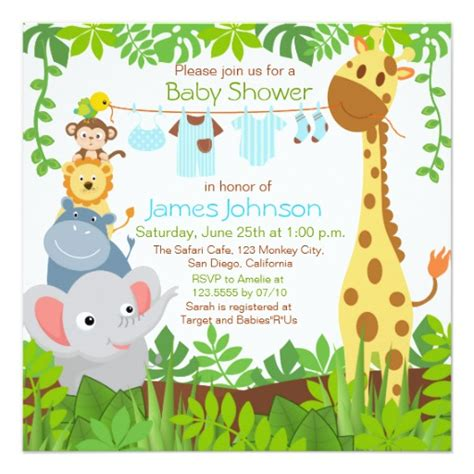Safari Baby Shower Invitations by Jungle Animals Safari Boy Baby Shower Invitation Zazzle