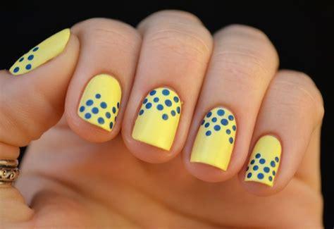 lemon nail art tutorial lemon yellow with blue dots nail art