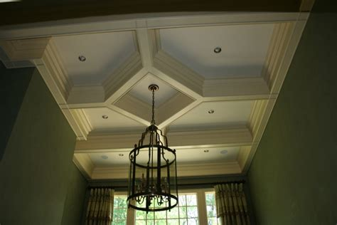 Painting New Plaster Ceiling all pro painting co this coffered ceiling was painted in two different tones to accent the