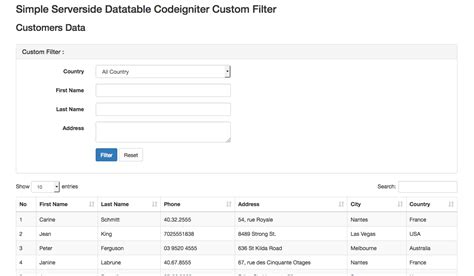 tutorial ci and bootstrap codeigniter server side datatables bootstrap with custom