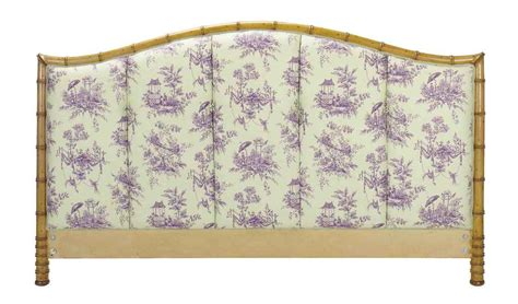 toile headboard a faux bamboo and button tufted toile covered headboard