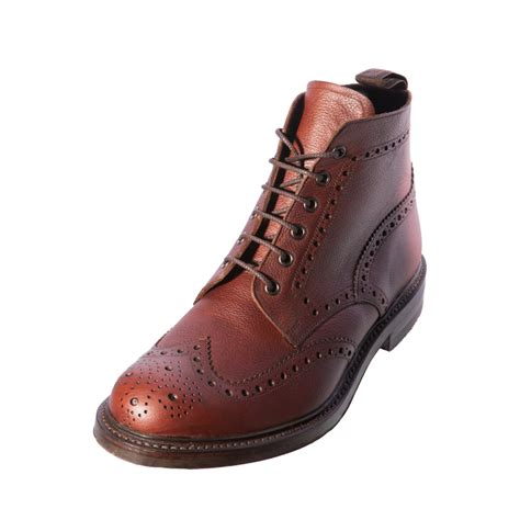 loake bedale mahogany gents mens leather brogue boot