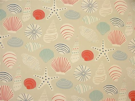 coastal fabrics for upholstery coastal nautical seaside seashre shells blue cotton fabric