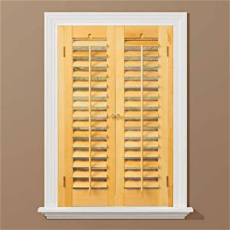 Home Depot Wood Shutters Interior Homebasics Plantation Light Teak Real Wood Interior Shutter Price Varies By Size Qspd3536