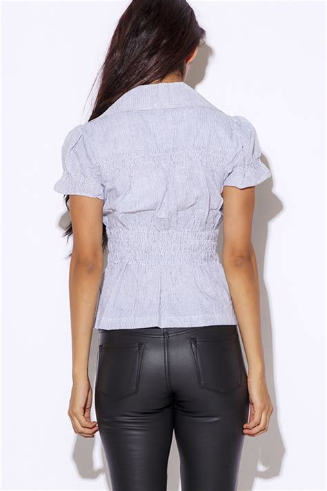 Pinstripe Sleeve Blouse shop pinstripe sleeve blouse top