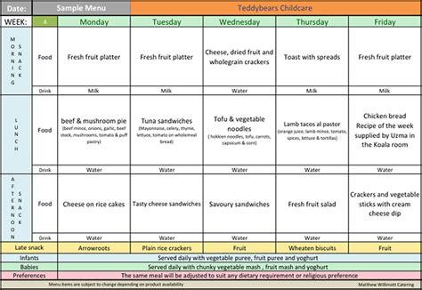 child care menu template meals teddbears childcare centre