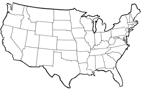 large black and white us map united states vector outline clipart best
