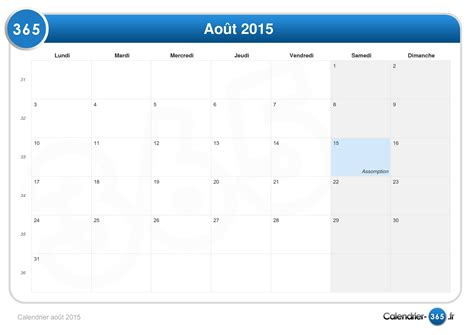 Calendrier 5 Aout 2015 Calendrier Ao 251 T 2015