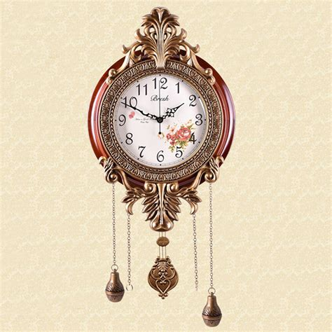 artistic home decor vintage classic pendulum wood wall clock decorative