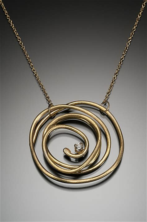 abstract chaos large pendant by kennedi milan gold