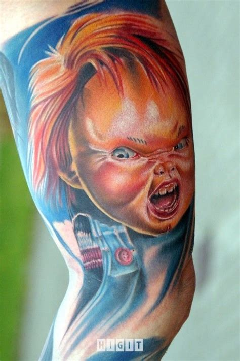 tattoos baby chris schmidt chucky doll colorful