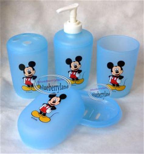disney bathroom set disney mickey mouse bath set of tumbler toothbrush holder soap dish dispenser blue