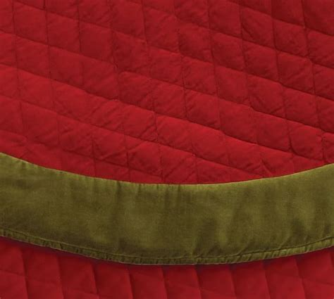 velvet tree skirt red with green cuff pottery barn
