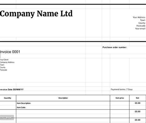 download invoice template uk invoice sle template