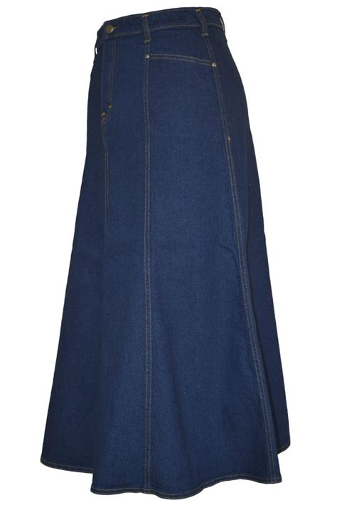 plus size flared indigo stretch denim maxi