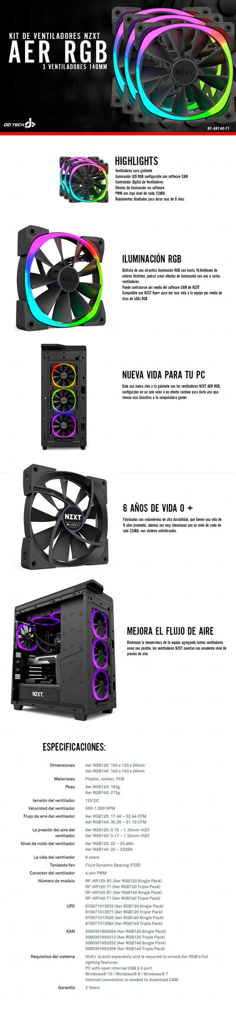 Nzxt Aer Rgb 140mm Digitally Controlled Rgb Led Fans For Hue Plus H kit de ventiladores para gabinete nzxt aer 140mm x3 rgb