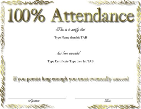 attendance award template best photos of certificate of attendance template word