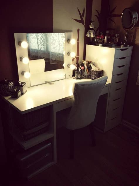 Bedroom Makeup Vanity With Lights Ikea by Ikea Alex And Mickey Desk Diy Makeup Vanity Cool Makeup