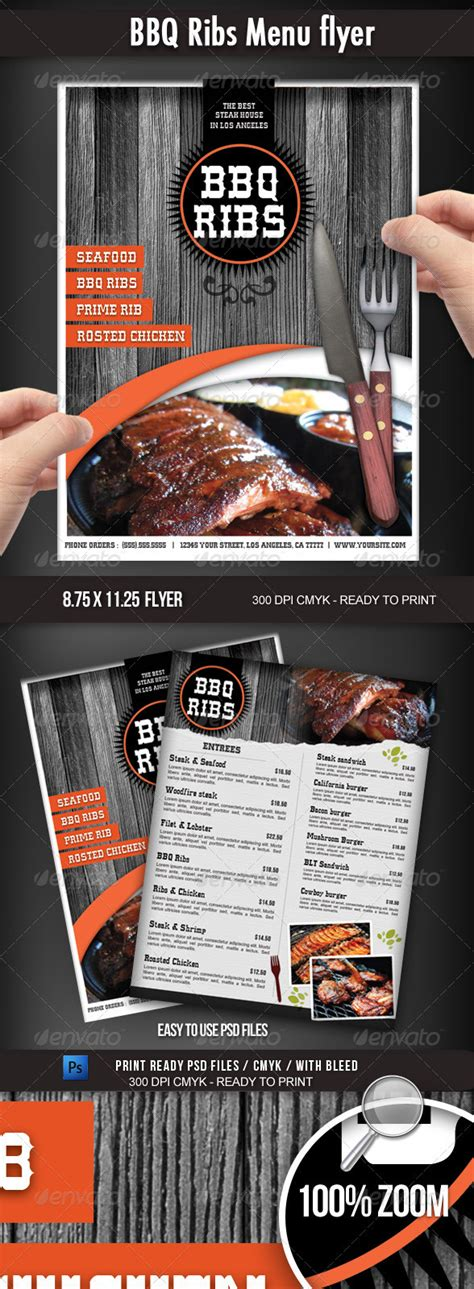 Bbq Restaurant Menu Flyer By Boca2600 Graphicriver Bbq Menu Template