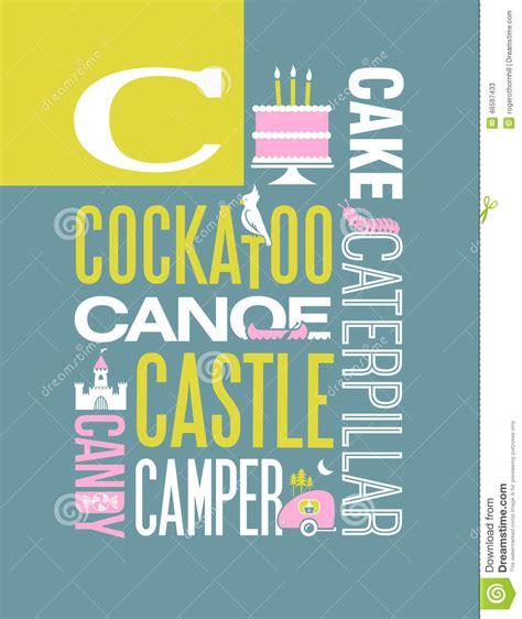 design poster in word letter c words typography illustration alphabet poster
