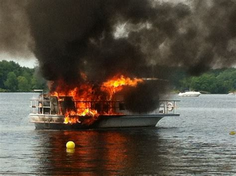 houseboat fire two people injured in house boat fire in port severn ctv