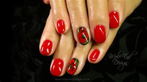 easy nail art poppy design one stroke blog mole end design