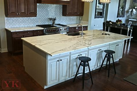 kitchen island countertops calcutta gold marble kitchen yk center fabrication