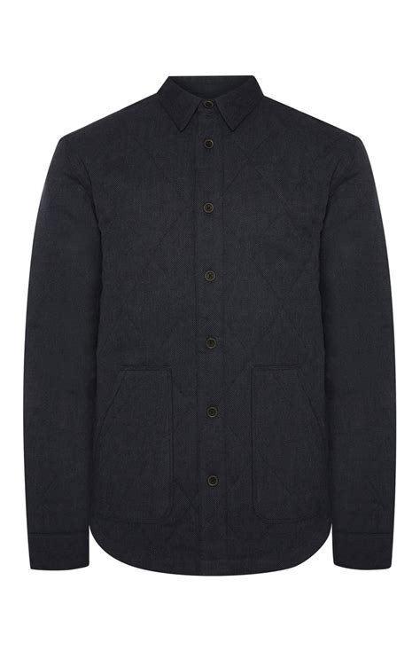 Primark Quilted Jacket by Farrell Navy Quilted Button Up Jacket Is Available At Primark