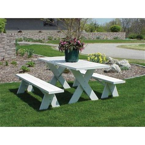 6 ft patio picnic table dura trel white vinyl table 6 ft with unattached patio bench