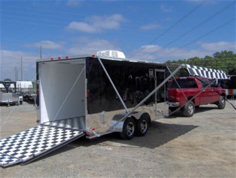 Cargo Trailer Awning by 7x16 Enclosed Motorcycle Cargo Trailer A C Unit W Awning
