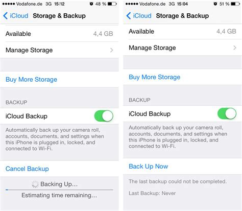 Iphone Icloud Backup Iphone Unable To Create Icloud Backup Ask Different