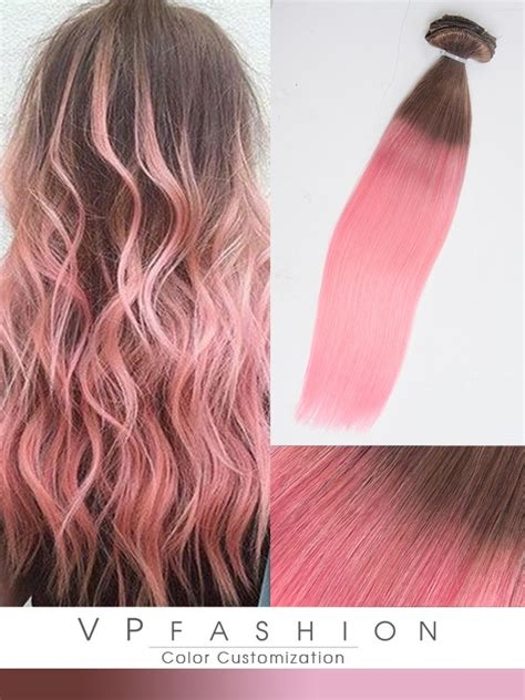 braun farbe braun und rosa zwei farbe ombre extensions aus echthaar